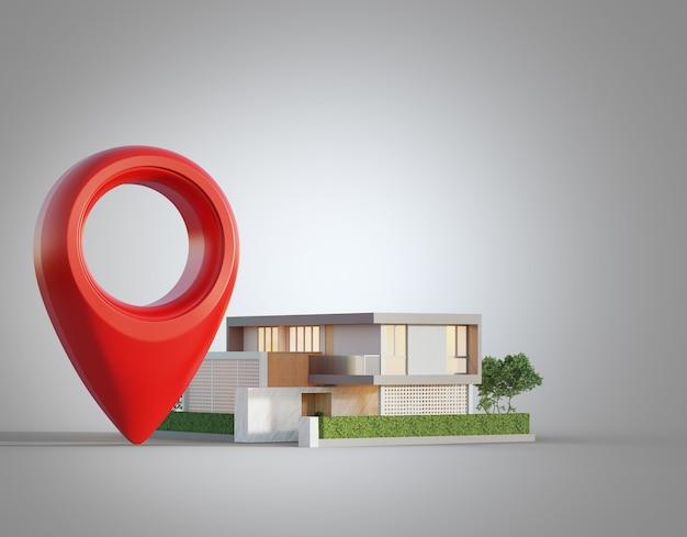 不動産投資コンセプトの白い背景にロケーションピンアイコンとモダンな家