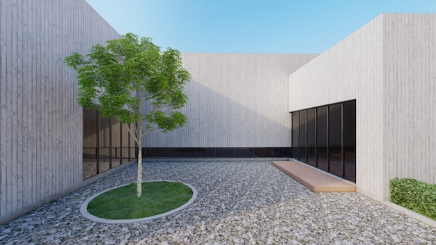 Modern house with open courtyard have feature tree and pebble ground. 3d rendering