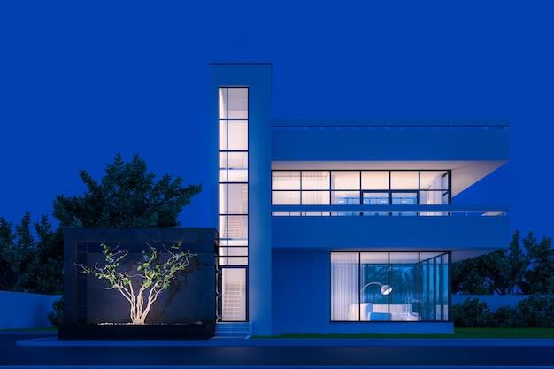 차가운 밤 빛에 발코니와 높은 계단이있는 흰색 석고가있는 현대 집