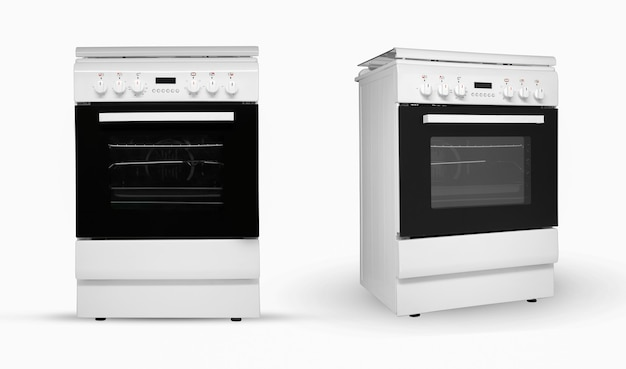Современная бытовая кухонная плита в двух положениях обзора на белом фоне кухонная техника