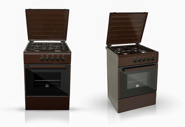 Современная бытовая кухонная духовка в двух положениях обзора на белом фоне