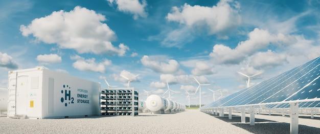 현대적인 수소 에너지 저장 시스템은 푸른 하늘과 흩어진 구름이 있는 화창한 여름 오후의 대형 태양광 발전소와 풍력 터빈 공원을 동반합니다. 3d 렌더링.