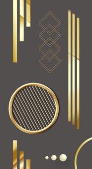 Современные иллюстрации настенная рамка золотые линии и круг на темном фоне геометрические треугольники