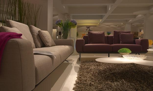 モダンな室内家具の家のリビングルーム