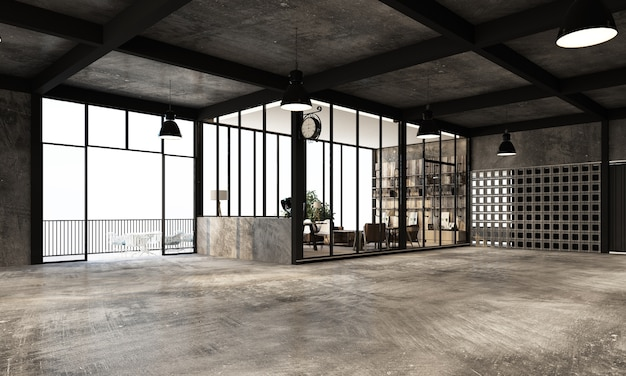 Modern industrial warehouse with working space and living area factory with concrete and metal texture interior design 3d rendering