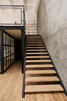 Modern industrial wooden staircase