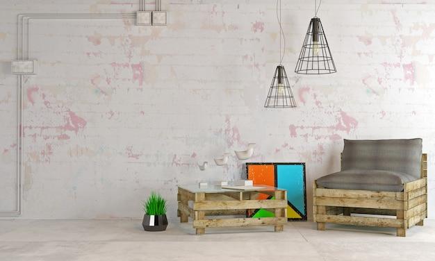 다락방 스타일의 현대적인 인테리어 아파트.