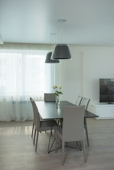 Modern interior in black, white and gray colors.