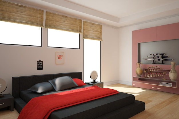 Modern interior design. 3d illustration