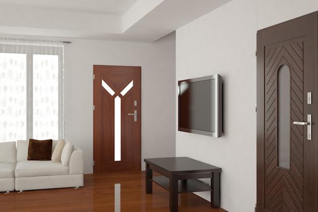 Современный дизайн интерьера 3d иллюстрации