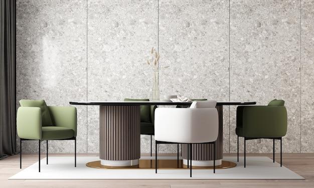 モダンなインテリアデザインとダイニングルームのモックアップルームとタラッツォの壁の質感