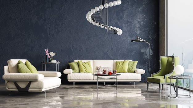 Modern interior design. decorative background of a house, apartment, office or hotel.