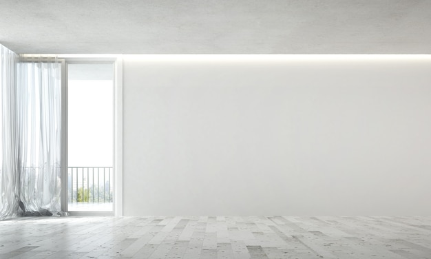 The modern interior design of empty lounge and living room and white wall