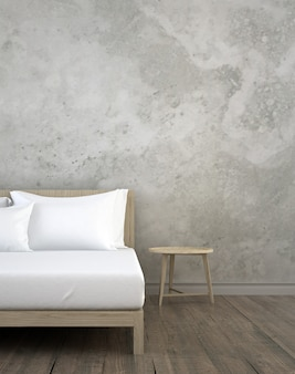 ベッドルーム、サイドボード、チェスト、引き出し、コンクリートテクスチャ壁の背景の屋内のモダンなインテリアデザイン