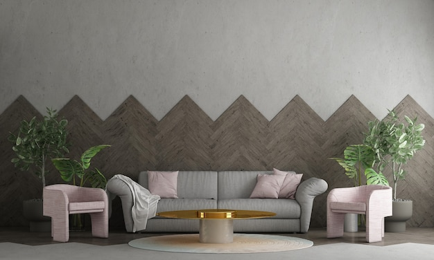 Modern interior design and living room and empty concrete wall