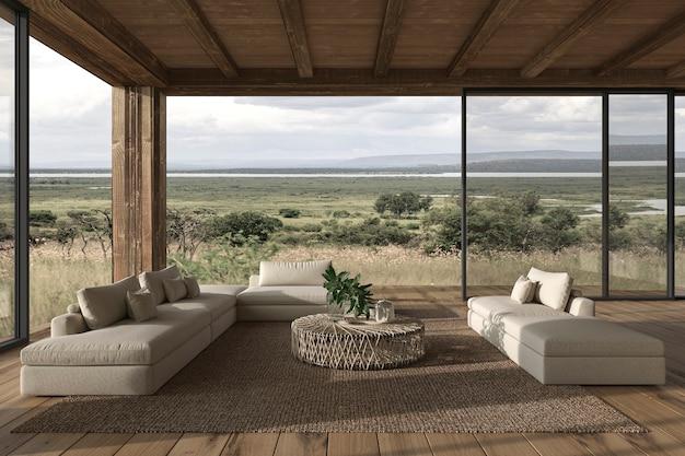 モダンなインテリアデザインのリビングルームの家屋外テラス3dレンダリングイラスト