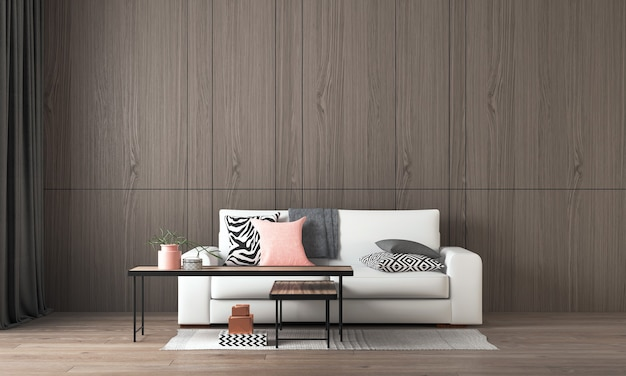 Modern interior design and mock up room of living room and wood wall texture