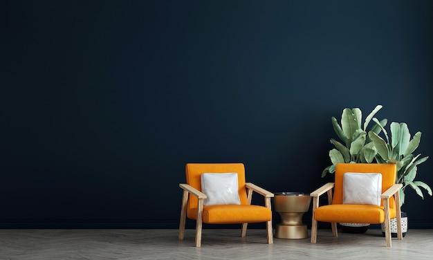 거실과 파란색 벽 패턴 배경, 3d 렌더링의 현대적인 인테리어 디자인