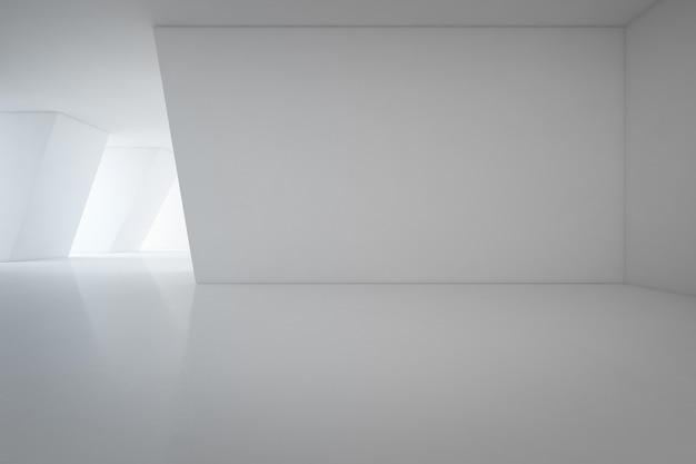 빈 바닥과 흰 벽 배경으로 쇼룸의 현대적인 인테리어 디자인-3d renderi