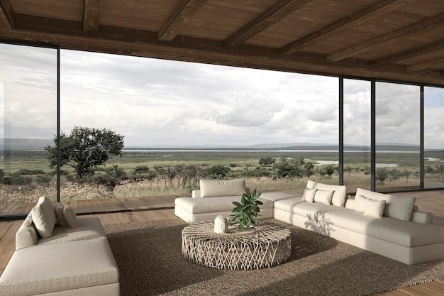 モダンなインテリアデザインオープンスペースリビングルームハウス屋外テラス3dレンダリングイラスト