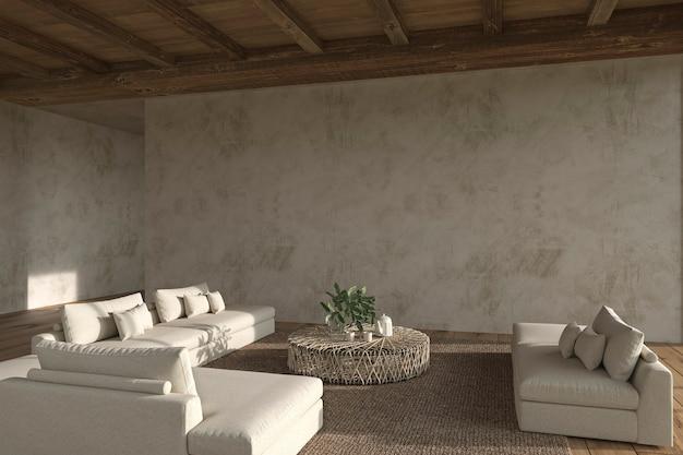 モダンなインテリアデザインオープンスペースリビングルームハウス住宅3dレンダリングイラスト