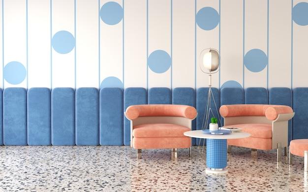 Modern interior design of room wih strip wal 3d render