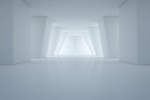 Modern interior design of showroom with empty floor and white wall