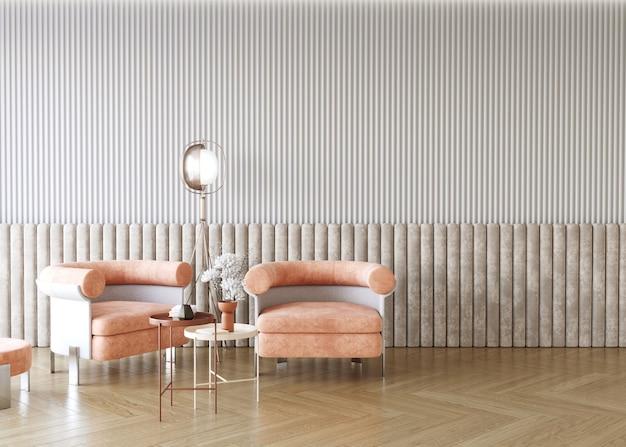 Modern interior design with strip paneled wall 3d render