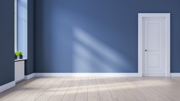 현대적인 인테리어 빈 방, 스칸디나비아 스타일, 나무 바닥과 파란색 벽, 3d 렌더링
