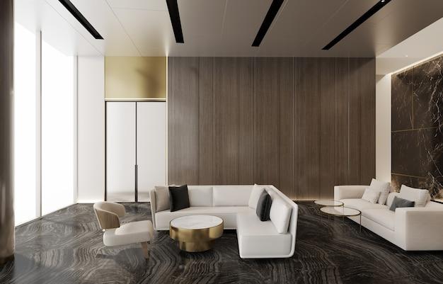 대리석과 나무 3d 일러스트레이션으로 장식된 현대적인 인테리어 거실