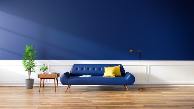 Modern interior of living room, blue sofa on wood flooring and dark blue wall . ,3d rendering