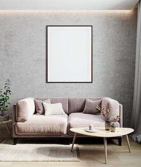 Modern interior living room, empty wall mockup in light room with pastel pink sofa, wooden table and plant, 3d render