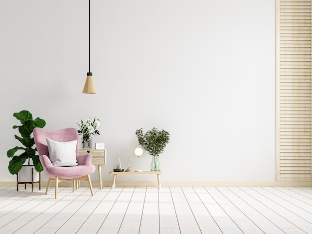 Modern interior of living room have pink armchair with table on white wall and wood floor.3d rendering