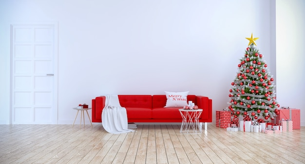 Modern interior of living room, red sofa with christmas tree on white wall and wood floor