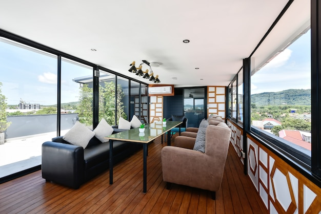 Modern interior of living room on rooftop in hotel