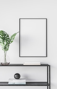 Modern interior of living room with black metal console and frame