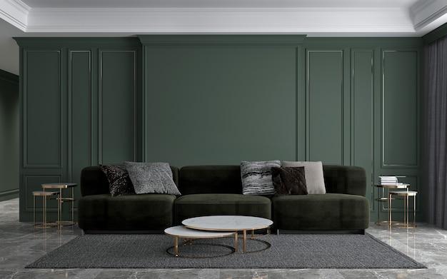 현대적인 인테리어 럭셔리 거실 디자인 및 녹색 패턴 벽 질감 배경, 3d 렌더링