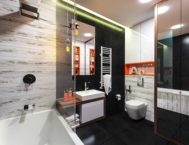 Современный интерьер ванной комнаты в стиле лофт