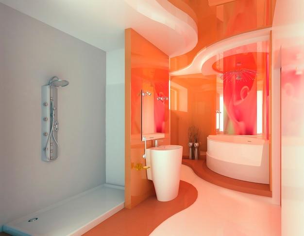 집이나 아파트의 현대적인 욕실 인테리어