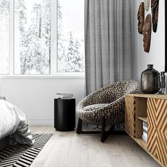 Современный интерьер спального уголка в африканском стиле. 3d-рендеринг.
