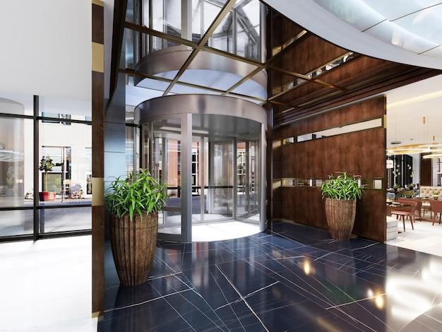 Современный интерьер уютного бара-ресторана. современный дизайн в модном стиле, современная столовая и барная стойка. 3d-рендеринг