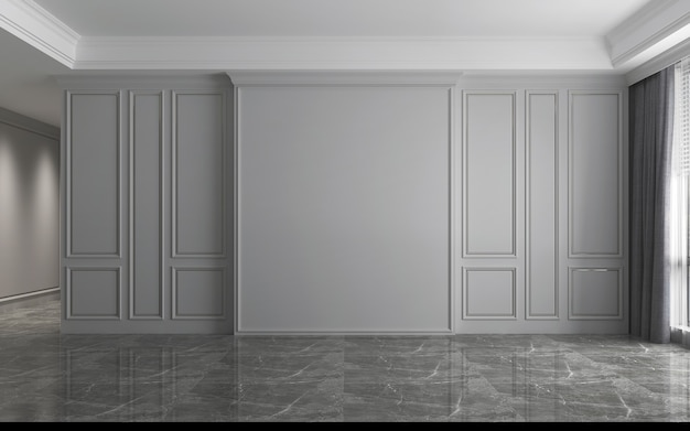 빈 고급 거실 디자인 및 회색 벽 질감 배경, 3d 렌더링의 현대적인 인테리어
