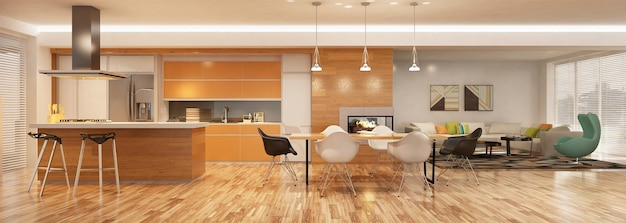 Современный интерьер кухни с гостиной