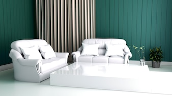Modern interior of Living room and Soft Sofa on wall dark,3d rendering