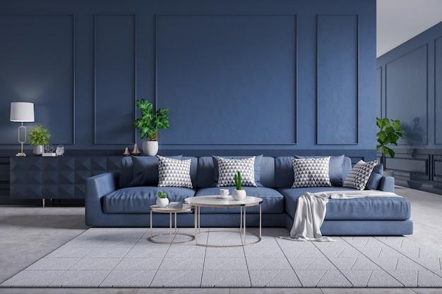 Современный интерьер гостиной, синий диван с кофейным столом на ковровой плитке и темно-синяя стена, 3d рендеринг