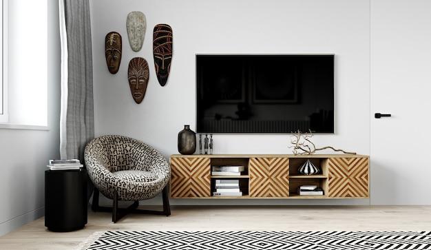 Современный интерьер уголка гостиной в африканском стиле. 3d-рендеринг.