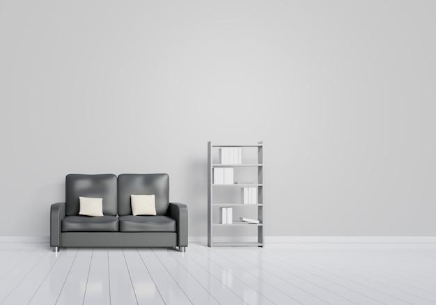 회색과 나무 광택 바닥과 검은 색 소파가있는 거실의 현대적인 인테리어