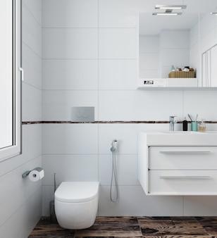 Современный интерьер туалета с белой плиткой и деревянным полом. 3d визуализация