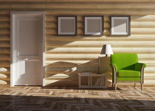 목조 주택의 현대적인 인테리어
