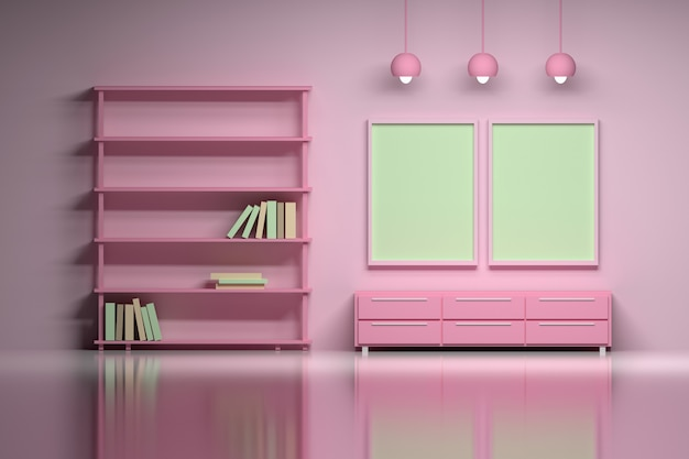 Modern interior in pink  with empty blank posters.